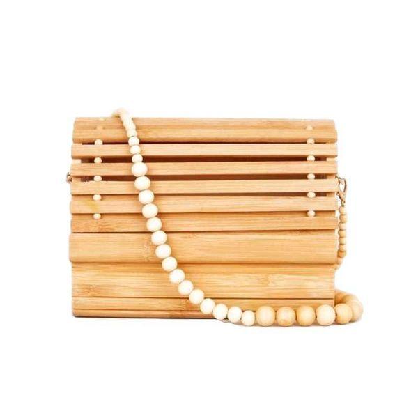 2019 Women Wooden Bead Shoulder Strap Bamboo Beach Bag Totes Handbag Ladies Handmade Straw Bag Summer Women's Purse J190702