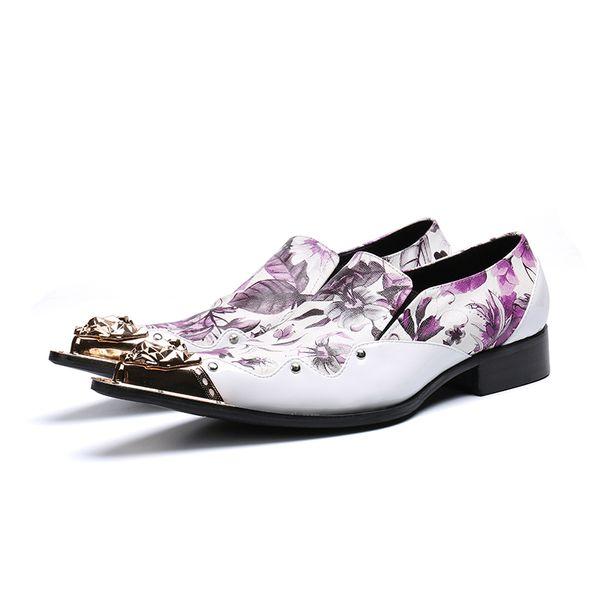 Escalas de couro padrão sapatos de casamento homens sapatos baixos Zapatos Hombre ponta de metal com cordões