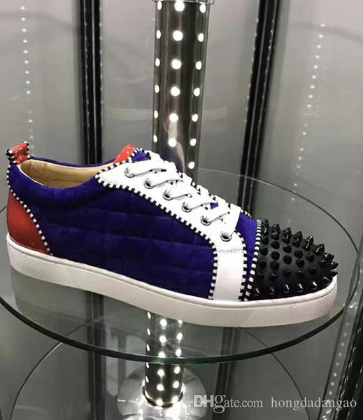 Fashion Glitter Leather Spikes Toe Casual Red Bottom Luxury Designer Sneaker Shoes Women Men Outdoor Shoes -- Party Dress Wedding