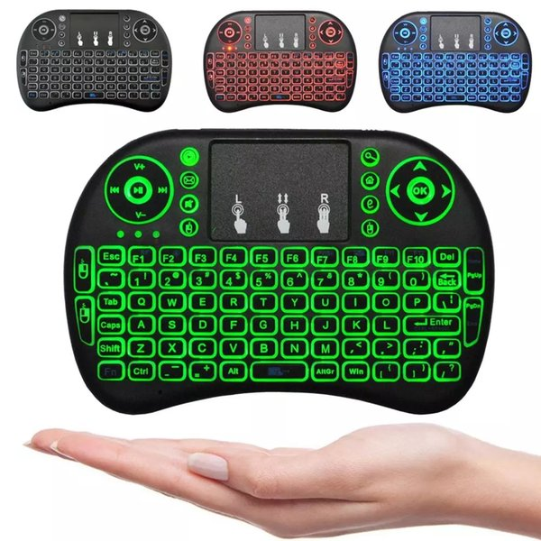 Mini i8 Wireless Keyboard backlight backlit 2.4G Air Mouse Tastiera telecomando Touchpad per Smart Android TV Box Tablet PC notebook