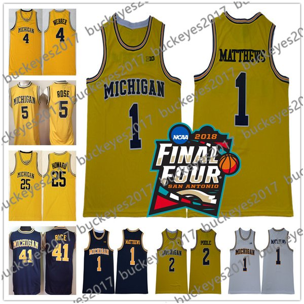 2018 NCAA Final Four Michigan Wolverines College Basketball Jersey Webber Rose Howard Rice Chris Jalen Dwight Glen Yellow Vintage