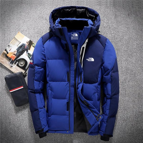 03Winter men s down hoodie white duck down north jacket parka windproof ski warm jacket outdoor leisure hooded sportswear FACE 8006