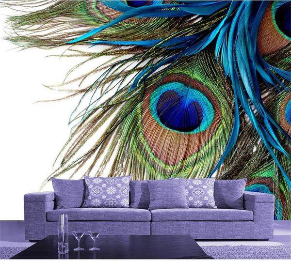 formato personalizzato foto 3d wallpaper soggiorno camera da letto murale piuma di pavone immagine 3d divano TV sfondo carta da parati murale adesivo non tessuto
