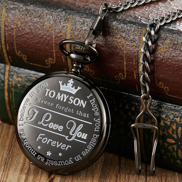 Vintage Quartz Pocket Watch To My Son Best Gift from Parent To Son Necklace Pendant Fob Clock Chain Xmas Christmas Present
