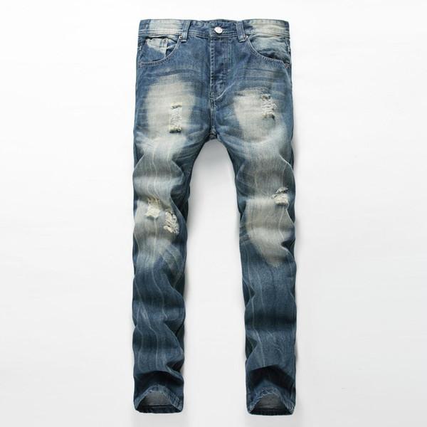 Nueva llegada diseñador de moda Jean para hombre marca Jeans destruidos Agujero de lavado recto Jeans para hombres de algodón pantalones de mezclilla ocasional
