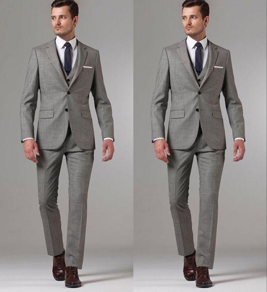 Brand New Grey Groom Tuxedos Notch Lapel Center Vent Groomsmen Mens Wedding Dresses Popular Man Jacket Blazer Suit(Jacket+Pants+Vest)