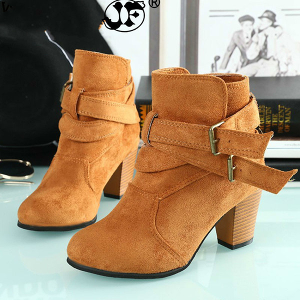 Autumn Women Shoes Boots Ankle Martin Boots Casual Winter Suede High Heels Buckle Flock Round Toe Slip-on Fashion Boots fgb67