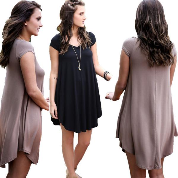 2019 Summer Casual Fashion O Neck Plus Size Dress For Fat Female Clothing  Short Sleeve Lrregular Black Coffee T Shirt Club Dress FP2570 Dresses For A  ...