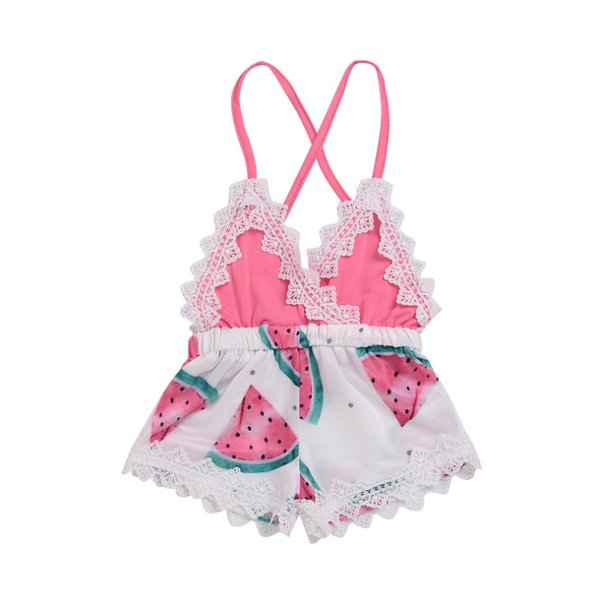 INS Baby romper infant girls lace hollow embroidery V-neck suspender shorts jumpsuits toddler kids watermelon printed climb clothes F6217