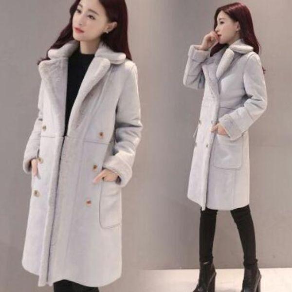 femmes vestes en vrac lether en daim épaississent femmes à haut thermique long manteau taille plus l'hiver manteaux rose DF568
