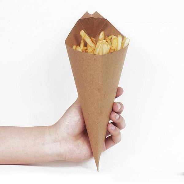 Картофель фри коробка конус чипсы масло доказательство мешок чип Кубок партия вынос одноразовые продукты питания бумажный пакет