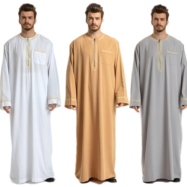 Islamische Männer Jubba Thobe Saudi-Arabien Abaya traditionelle arabische Dubai Langarm Stickerei Kleidung Herren Ramadan muslimischen Kleid