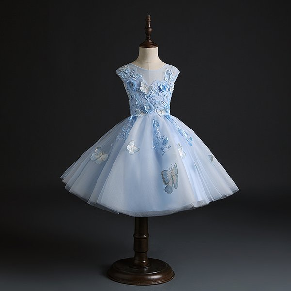 Light Blue Tulle Newborn Baby Girl 1st Birthday Dress Butterfly Floral Little Girl Party Dress Infant Baptism Christening Gown