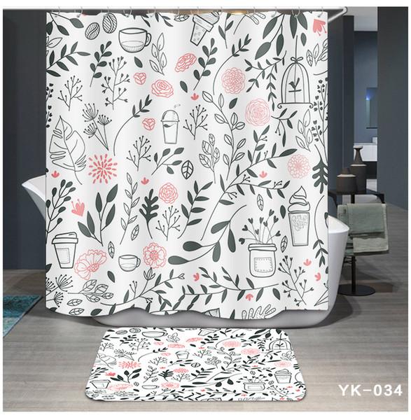 Printing 5 Designs Waterproof Flamingo Plant Cartoon Bathroom Accessories Curtain for Living Room Bedroom Windows Luxury Home Decor