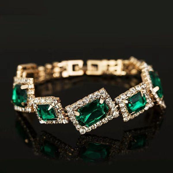 vert bracelet de pierres précieuses pour les femmes luxe gemme mariage fiançailles dîner designer déclaration bracelets en or bijoux cadeaux d'anniversaire pour fille gf