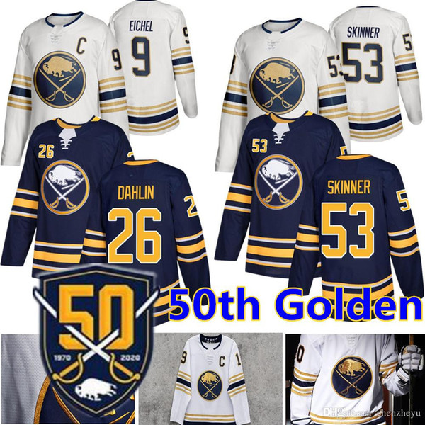best selling 2019 New Buffalo Sabres 50th Golden Jersey 9 Jack Eichel 53 Jeff Skinner 26 Rasmus Dahlin Hockey Jerseys