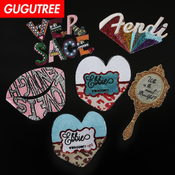 gugutree embroidery big letter mirror love heart lip patch animal patches badges applique patches for clothing dk-7