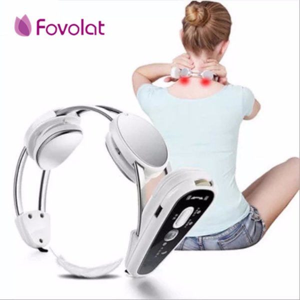 Health Care Smart Rechargeable USB Infrared Heating Neck Massager Electric Relax Cervical Treatment Acupuncture Stimulator