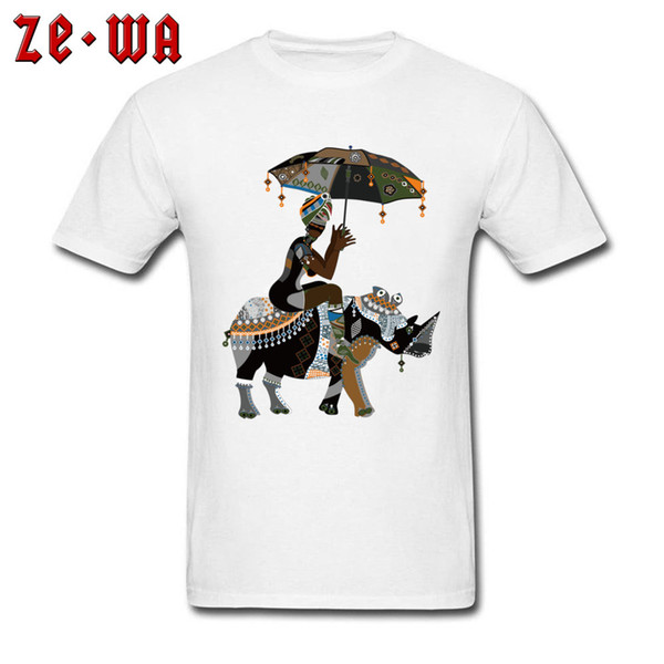 Fitted Men Tshirt African Art Drawing T-shirt African People Rhinoceros Print T Shirts Crewneck 100% Cotton Clothes White Unique