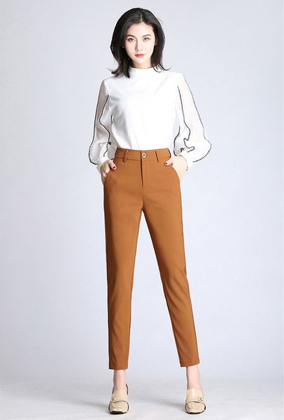 Spring Women Solid High Waist Long Pants Formal Ol Elegant Harem Pants For Ladies In Workplace Business Suits Trousers