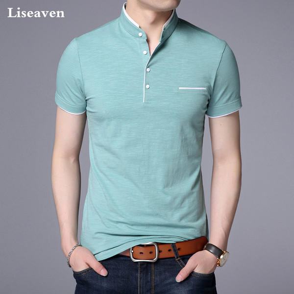 Liseaven Men Mandarin Collar T-shirt Basic Tshirt Male Short Sleeve Shirt Brand New Tops&tees Cotton T Shirt Q190421