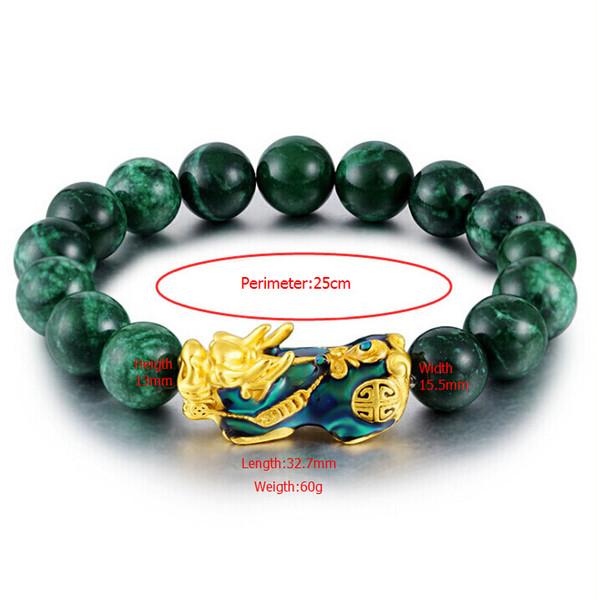 Hfancyw High Quality Natural Green Onyx Stone Golden Pixiu Charm Change Colour Pixiu Bracelet Good Luck Men Friend Birthday Gift Y19051002