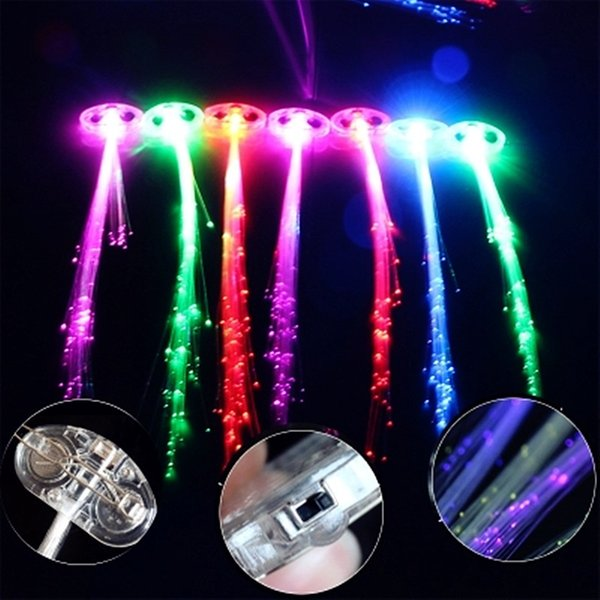 40cm LED Hair Light Emitting Braid Optical Fiber Pigtails Flashing Hair Christmas Tree Decoration Bar Dance Festival Supplies 6Z