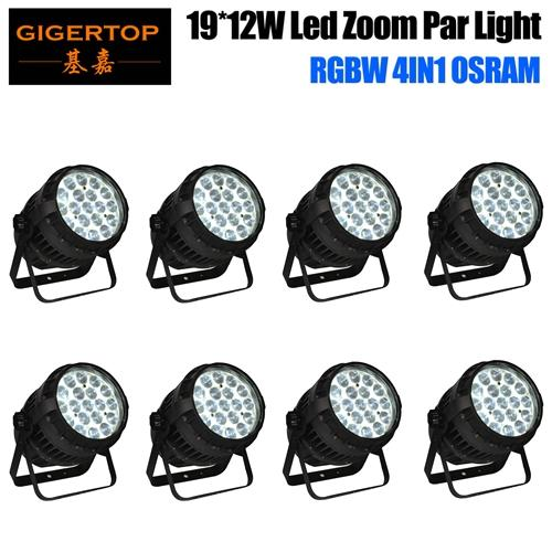 Gigertop 8 Pack TP-P83 19x15W OS-ram Waterproof Led Zoom Par Light IP65 10-50 Degree Beam Angle Adjustable Long Project Spot
