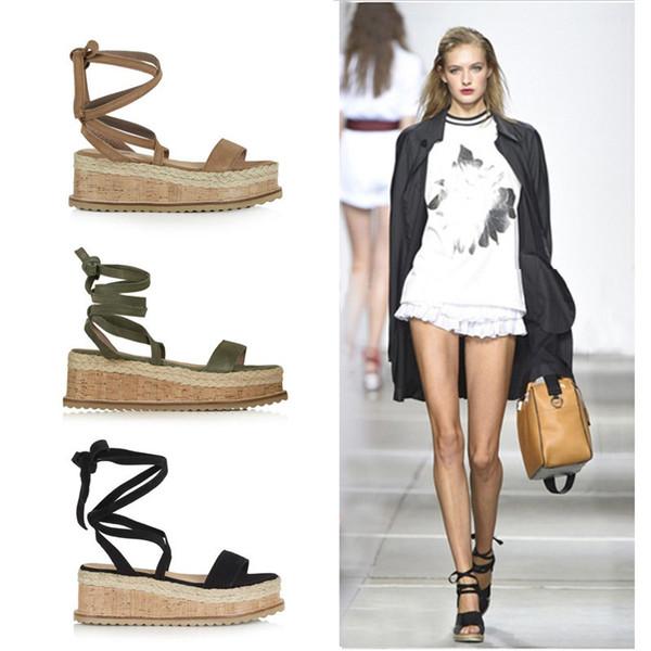 Muffin Fundo Grosso Pé Bandagem 43 Verão Popular Sapatos Sapatos 2019 Moda Feminina Sexy Sandálias