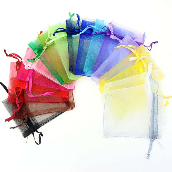 best selling Jewelry Bags mixed Organza gift bags Jewelry Wedding Christmas Party Xmas Bags Purple Blue Pink With Drawstring 9*12cm drop ship