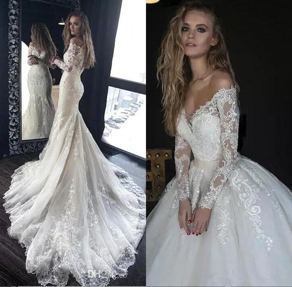 Off The Shoulder Lace Mermaid Wedding Dresses 2019 Long Sleeves Tulle Applique Sweep Train Wedding Bridal Gowns With Detachable Skirt Australia 2020