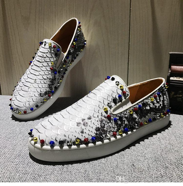 Elegant Gentlemen Pik Boat Flats Slip On Black Glitter Leather Spikes Sneakers Red Bottom Loafers High Quality Outdoor Casual Walking Party