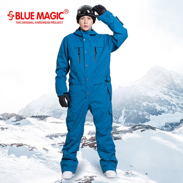 blue magic waterproof snowboarding one piece skiing jumpsuit men snowboard -30 degrees snow ski suit Winter clothing coverall