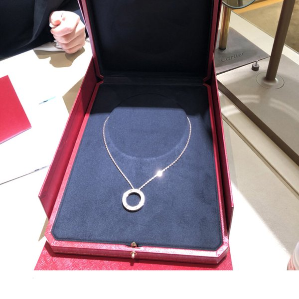 Women Luxury design necklaces Choker Necklace Sterling Silver Rose Gold Pendant necklaces Love Classic necklace Pancake Double-sided Ship