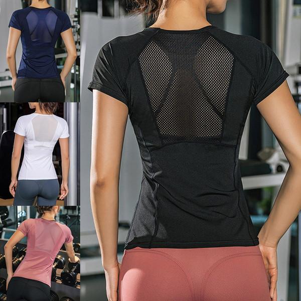 Mulheres Yoga Tops Slim Fit de secagem rápida respirável Voltar mangas da aptidão camisas para Gym FG66