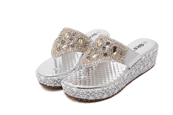 2019 New Arrival Women Summer Gold Silver Sandals Bead Rhinestone Leisure Beach Shoes Slippers 35-40 dh2a37