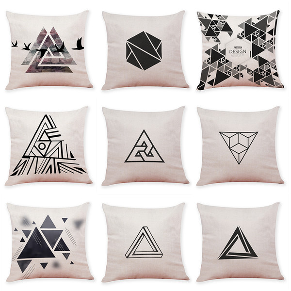 Loop Triangle Linen Cushion Covers Home Office Sofa Square Pillow Case  Decorative Pillow Covers Without Insert 18*18Inch Replacement Cushions  Outdoor ...