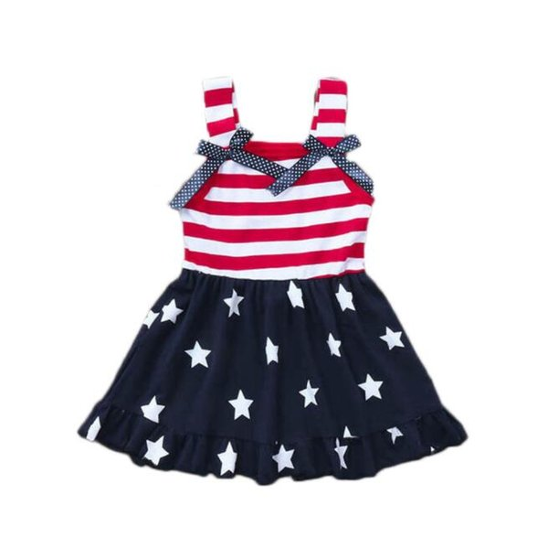 Girls Star Stripe Dresses for The Fourth of July USA National Day Summer Kids Special Occasion Clothes Girls Flag Braces Dresses BY1050