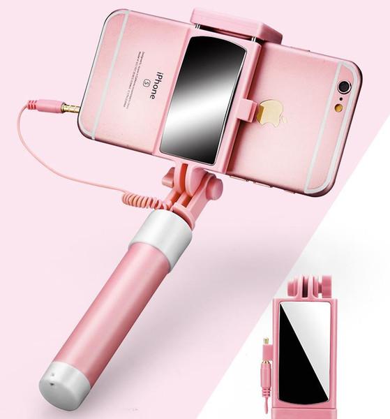 Iphone Selfie'nin Çubuk Süper Mini Kablo İçin Dikiz aynası katlama çizgisi kontrolü Handheld ile Kutup Katlanabilir alın Dahili Shutter ve Clip