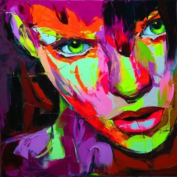 Francoise Nielly Palette Knife Impression Home Artworks Modern Portrait Handmade Oil Painting on Canvas Concave and Convex Texture Face017