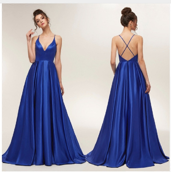 2019 Royal Blue Sexy Prom Dress Satin Spaghetti Straps Ruched Backless Long Elegant Formal Evening Gowns Party Special Occasion Dresses
