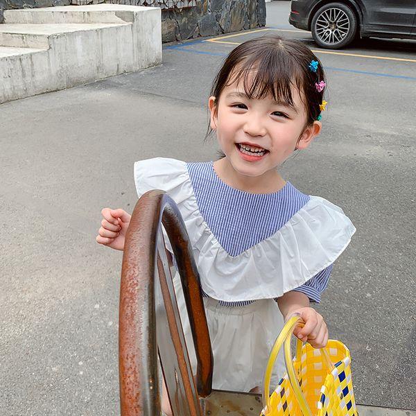 Girls stripe blouse kids V falbala princess tops children cotton short sleeve doll shirts 2019 summer new children clothing F6947