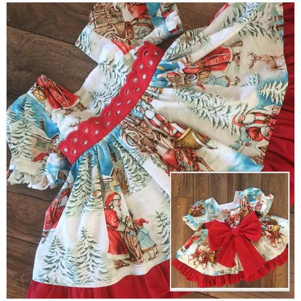 été bébé fille bande dessinée robe de princesse fashion Santa imprimé dentelle grand arc enfants robe de soirée robe plissée pour enfants