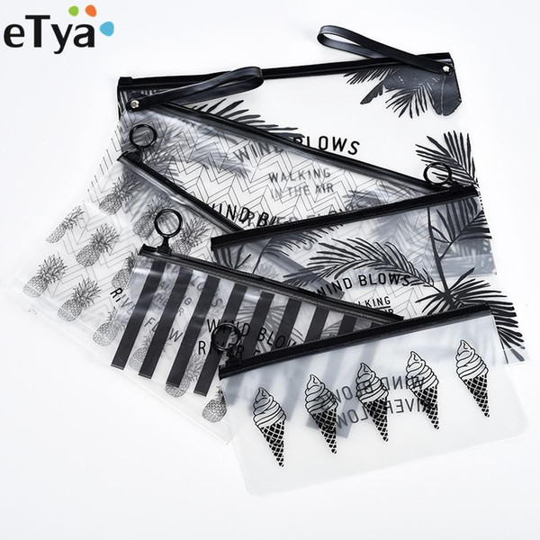 Etya recorrido de la manera de las mujeres transparente claro de la Bolsa de Cosméticos Pequeña Grande de PVC de maquillaje bolsa caso necesario de baño Lavadero Organizador Conjunto bolsa