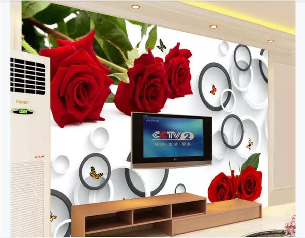 3D Custom wall papers home decor photo wallpaper Fashion Rose 3D Ring Living Room TV Background Mural wallpaper for walls 3d