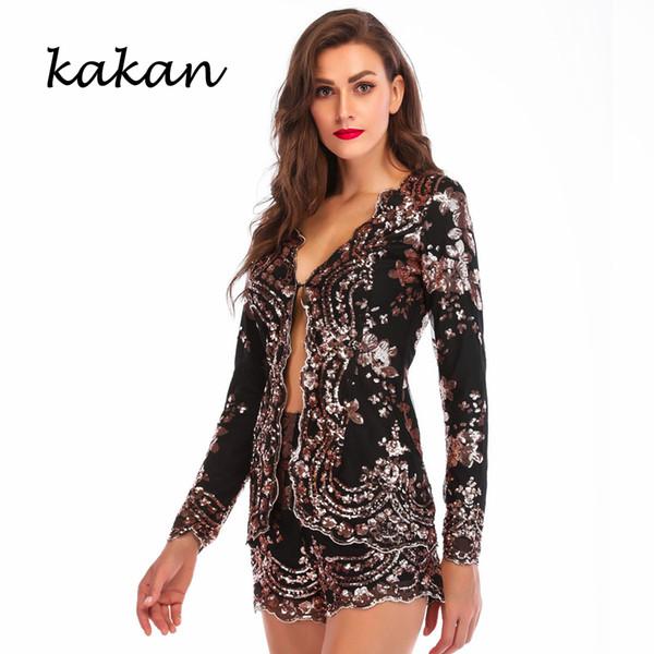 Kakan 2019 primavera nuove paillettes donna di un pezzo collant due pezzi sexy a maniche lunghe tuta tuta nera