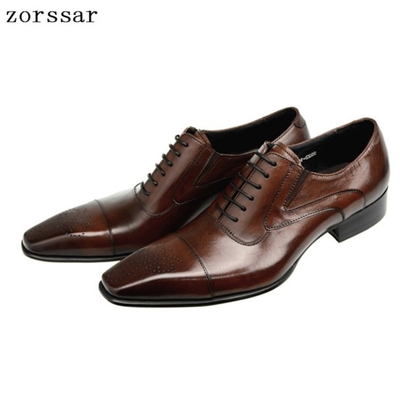 {Zorssar} New Spring Fashion Oxford Business Men Shoes Genuine Leather High Quality Soft Casual Men's brogue Shoes Big Size 47