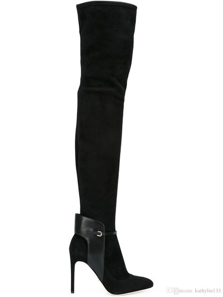 2018 big size 34-46 new fashion pointed toe super high heels shoes black Long Boots Women Thigh Gladiator Boots Sexy High Heel Boots free sh