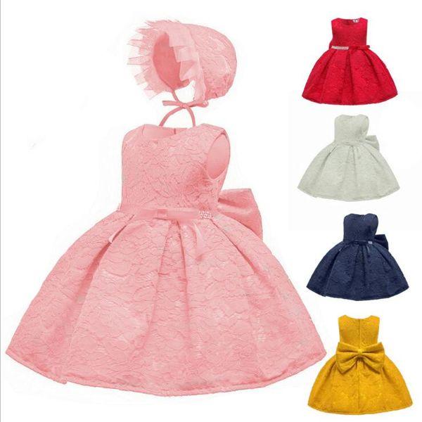 Vestido de encaje rosa para niñas Vestido de cien días Fotografía infantil 1-3 años Vestido de fiesta de cumpleaños para bebés recién nacidos WGB-8445