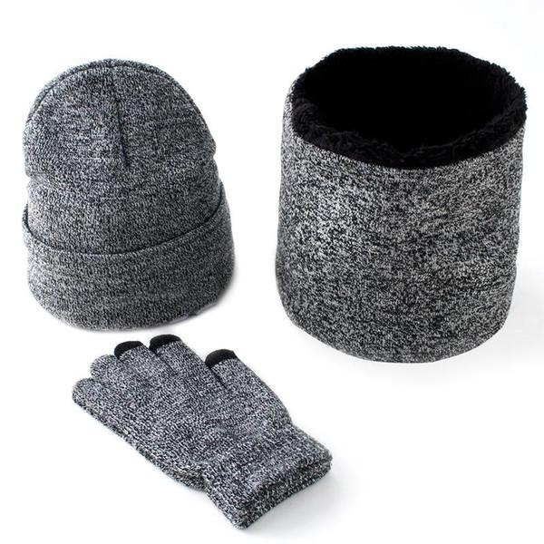 fashion Warm 3 Pieces Set Winter Hats Scarf Gloves For Women Men Thick Winter Accessories Set Female Male Beanie Scarf Gloves